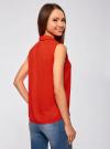 Топ из струящейся ткани с воланами oodji для женщины (красный), 21411108/36215/4512D - вид 3