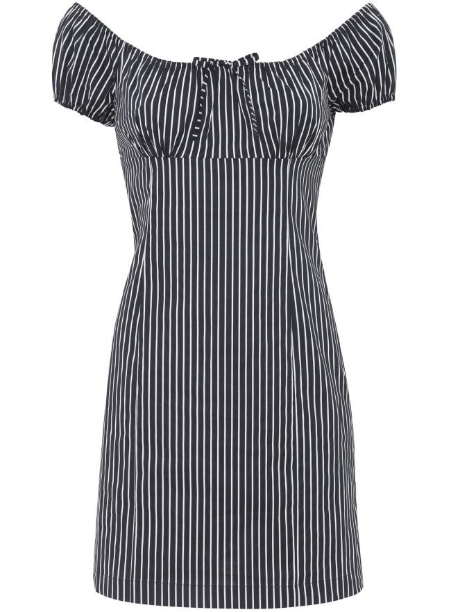 Платье принтованное из хлопка oodji для женщины (синий), 11902047-2/14846/7912S