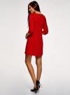 Платье из плотной ткани с отделкой из искусственной кожи oodji #SECTION_NAME# (красный), 11902145-1/38248/4500N - вид 3
