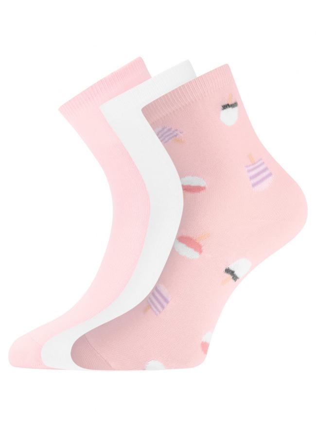 Комплект из трех пар носков oodji для женщины (разноцветный), 57102466T3/47469/21