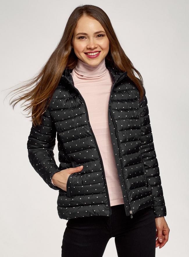 Куртка стеганая с капюшоном oodji для женщины (черный), 10203085/50223/2933D