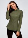 Рубашка приталенная с нагрудными карманами oodji #SECTION_NAME# (зеленый), 13L12001B/43609/6800N - вид 2