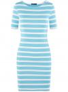 Платье прилегающего силуэта в рубчик oodji #SECTION_NAME# (синий), 14011012/45210/7010S