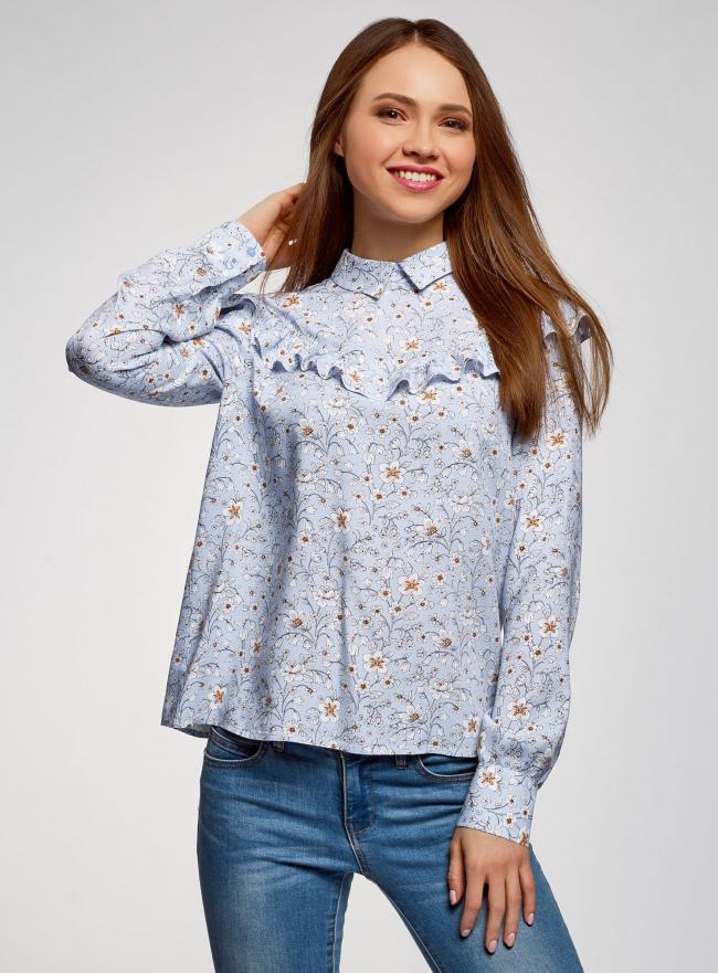 Блузка принтованная с воланами oodji #SECTION_NAME# (синий), 11400449-1/26346/7012F