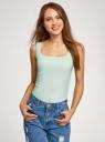 Топ из эластичной ткани на широких бретелях oodji для женщины (зеленый), 24315002-1B/45297/6500N