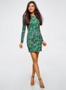 Платье трикотажное облегающего силуэта oodji #SECTION_NAME# (зеленый), 14000171/46148/6223O - вид 2