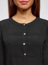 Блузка шифоновая в стиле милитари oodji #SECTION_NAME# (черный), 11411062/43291/2900N - вид 4