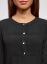 Блузка шифоновая в стиле милитари oodji для женщины (черный), 11411062/43291/2900N