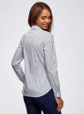 Рубашка в полоску с карманами oodji #SECTION_NAME# (белый), 13K03002-4B/46807/1079S - вид 3