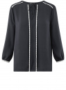 Блузка прямая с декоративной отделкой на груди oodji #SECTION_NAME# (синий), 11411147/36215/7900N