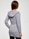Кардиган меланжевый с капюшоном oodji #SECTION_NAME# (серый), 63207195/48106/1225M - вид 3