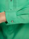 Рубашка хлопковая свободного силуэта oodji для женщины (зеленый), 11411101B/45561/6500N