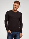 Пуловер базовый с V-образным вырезом oodji #SECTION_NAME# (коричневый), 4B212007M-1/34390N/3900M - вид 2