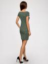 Платье трикотажное принтованное oodji #SECTION_NAME# (зеленый), 14001117-7/16564/6912G - вид 3