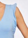 Платье трикотажное с V-образным вырезом oodji #SECTION_NAME# (синий), 14015004/45394/7000N - вид 5