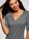 Платье жаккардовое с V-образным вырезом oodji #SECTION_NAME# (серый), 14017002/46979/1029O - вид 4