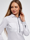 Рубашка приталенная с нагрудными карманами oodji #SECTION_NAME# (белый), 11403222-3/42468/1000N - вид 4