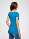 Футболка базовая приталенная oodji для женщины (синий), 14701005-7B/46147/7501N