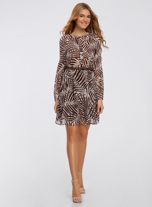 Платье принтованное из шифона oodji для женщины (коричневый), 21912001/38375/3912F