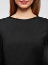 Блузка приталенная с отделкой из искусственной кожи oodji #SECTION_NAME# (черный), 21400365/38238/2900N - вид 4