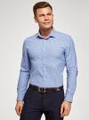 Рубашка принтованная приталенного силуэта oodji #SECTION_NAME# (синий), 3L310141M/46212N/7010E - вид 2