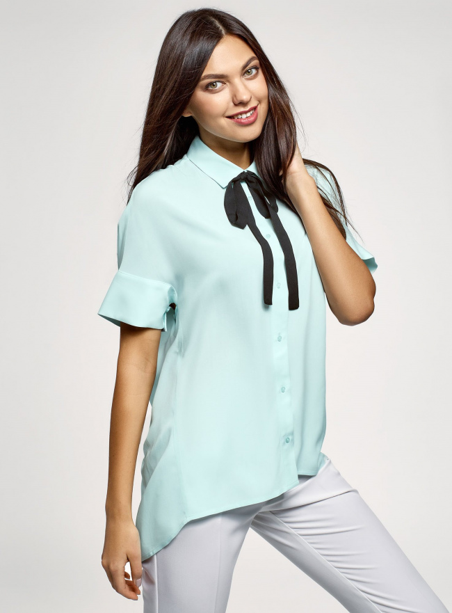 Блузка вискозная с завязками на воротнике oodji #SECTION_NAME# (зеленый), 11405143/48458/6529B