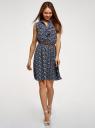 Платье из струящейся ткани с жабо oodji #SECTION_NAME# (синий), 21913018/36215/7912E - вид 2