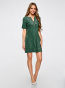 Платье из искусственной замши с декором из металлических страз oodji #SECTION_NAME# (зеленый), 18L01001/45622/6E00N - вид 6