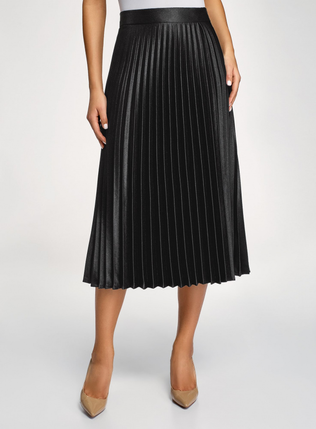 Юбка плиссе удлиненная oodji для женщины (черный), 21606020-4/48764/2900N