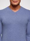 Пуловер базовый с V-образным вырезом oodji #SECTION_NAME# (синий), 4B212007M-1/34390N/7401M - вид 4