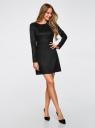 Платье из искусственной замши с длинными рукавами oodji для женщины (черный), 18L02001/45870/2900N