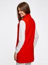 Жилет удлиненный с объемными лацканами oodji для женщины (красный), 22305003/38095/4500N