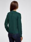 Блузка шифоновая в стиле милитари oodji #SECTION_NAME# (зеленый), 11411062/43291/6E00N - вид 3