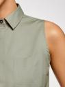 Платье хлопковое на кулиске oodji #SECTION_NAME# (зеленый), 11901147-5B/42468/6000N - вид 5