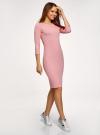 Платье в рубчик с рукавом 3/4 oodji #SECTION_NAME# (розовый), 14001196/46412/4101N - вид 6