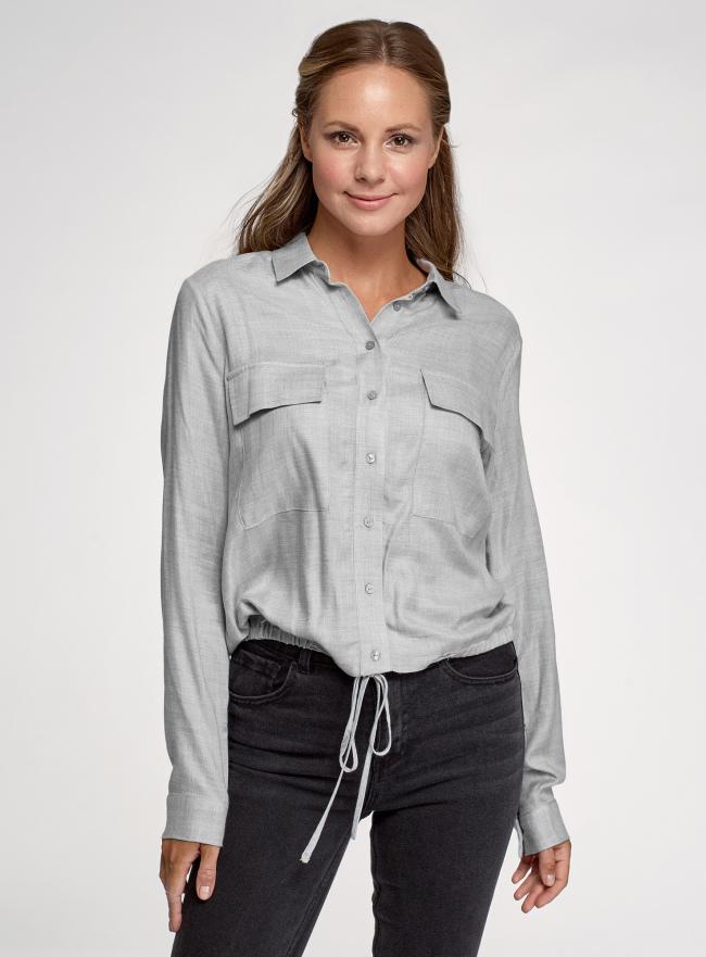 Блузка с длинными рукавами и кулиской oodji для женщины (серый), 11411210-1/50316/2000M