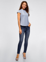 Рубашка реглан с воротником-стойкой oodji для женщины (синий), 13K03006-1B/26357/7001N
