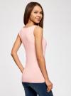 Топ из эластичной ткани на широких бретелях oodji для женщины (розовый), 24315002-1B/45297/4002N - вид 3