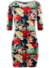 Платье трикотажное с цветочным принтом oodji #SECTION_NAME# (разноцветный), 14001121-1/16300/7919F