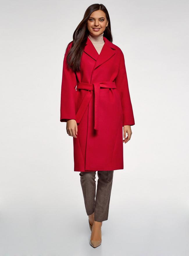 Пальто свободного силуэта с поясом oodji #SECTION_NAME# (красный), 10103034/45628/4500N