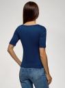 Джемпер в рубчик с круглым вырезом oodji для женщины (синий), 14701075/46412/7502N
