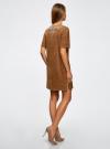 Платье из искусственной замши с декором из металлических страз oodji #SECTION_NAME# (коричневый), 18L01001/45622/3700N - вид 3