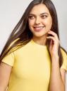 Платье трикотажное с коротким рукавом oodji #SECTION_NAME# (желтый), 14011007/45262/5200N - вид 4