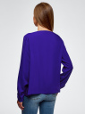 Блузка вискозная базовая oodji #SECTION_NAME# (синий), 11411135-3B/26346/7503N - вид 3