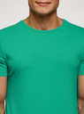 Футболка мужская oodji #SECTION_NAME# (зеленый), 5B621002M/44135N/6500N - вид 4