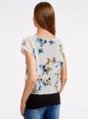 Блузка комбинированная с принтом oodji #SECTION_NAME# (белый), 21400311-7/15018/1219P - вид 3
