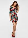 Платье трикотажное с цветочным принтом oodji #SECTION_NAME# (разноцветный), 14001121-1/16300/7919F - вид 6