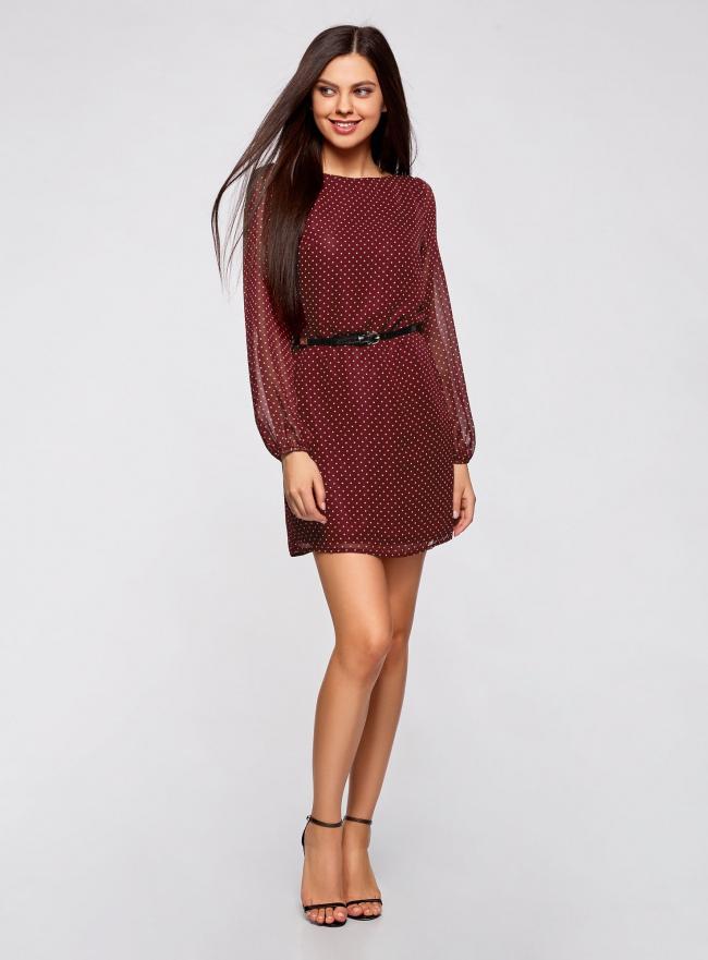 Платье из шифона с ремнем oodji для женщины (красный), 11900150-5/13632/4912D