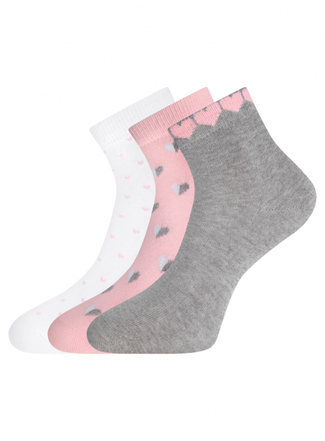 Комплект из трех пар укороченных носков oodji для женщины (разноцветный), 57102418T3/47469/61