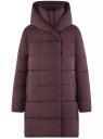 Пальто утепленное с капюшоном oodji для женщины (фиолетовый), 10203074/45913/8800N
